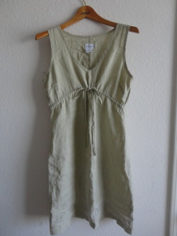 DKNY drawstring linen dress, EUC. Size 4. Simple and light, lovely for summer. There is some very sweet detailing at the hem, in white and baby blue stitching. $18 shipped