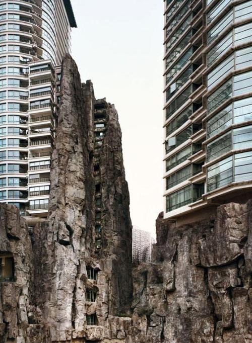 invado:  Vally, China (2008) by Bas Princen  Two Skyscrapers utilize the natural landscape, creating a surreal architectural marvel.