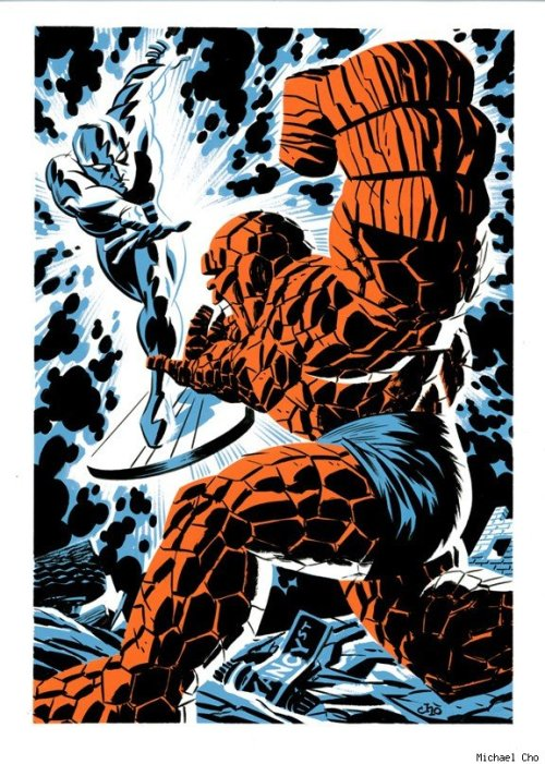 Silver Surfer vs The Thing by Michael Cho