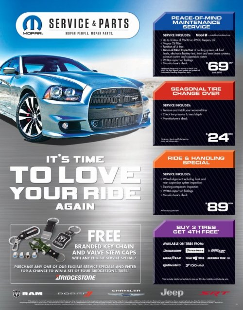 FAMILY SERVICE SPECIAL!!! Purchase any of our eligible #Mopar specials by June 9th and receive a free branded key chain and valve stem caps PLUS enter for your chance to win a set of four Bridgestone tires.  Book your appointment by calling 780-435-9500 or head online to: http://bit.ly/xiR5kD