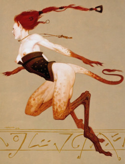 "fuckyeahmonstergirls:  ""Gazelle,"" a 1996 painting by (Gerald) Brom for the Friedlander Publishing Group's card game Dark Age."