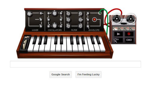 hola rockeros ~ the google doodle for may 23 is a playable Moog synthesizer in honor of the birthday of Robert Moog. go to google RIGHT NOW. play it! oh and -   If you want to be able to get to the black keys, start with the keyboard row that begins QWERTY. The black keys are the numbers.  via Wired