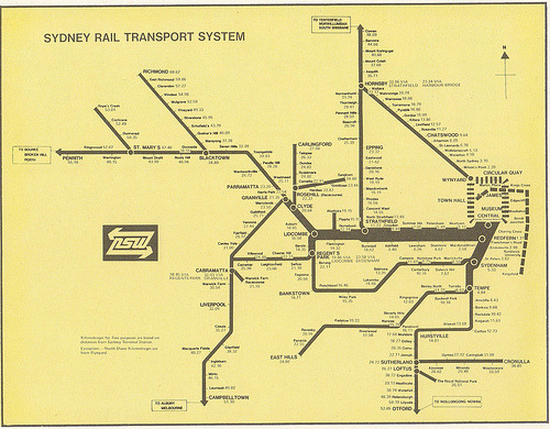 "Historical Map: Sydney Rail Transport System, c. 1970-1976 Here's another interesting planning map from Sydney, Australia, showing a vision for the future that never quite got there. If you look to the far centre right of the map, you can see the planned Eastern Suburbs line… including a never-built extension from the (now current) end of the line at Bondi Junction to Kingsford. There's also an extra station at Woollahra in the section that did finally get built. It's these details that allow me to date the map fairly accurately: it's post-1970, as the distances are in kilometres, not miles, but before 1976, which is when the extension to Kingsford was scrapped. Have we been there? A little early for my time in Sydney (we moved there from Armidale in 1979). What we like: A fascinating glimpse of what might have been. Although I'm not sure it's intended, the thickness of the route lines throughout the system seem to act as an indicator of service frequency - something that is being seen more on modern transit maps. The old NSW Rail ""arrow of indecision"" is a pretty awesome 1970s logo. What we don't like: Pretty rough and ready, with distances being pasted on wherever they would fit. Not really for general consumption. Our rating: Of historical interest for the vision of the Eastern Suburbs line alone, but doesn't look great. Two-and-a-half stars.  (Source: davemail66/Flickr)"