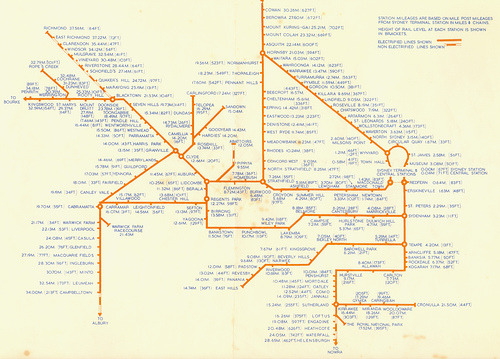 Historical Map: Sydney Suburban Rail Network, 1969  Here's an interesting map from my hometown of Sydney, Australia from around 1969. Unusually, it doesn't display different services as separate coloured route lines: everything is shown as one uniform orange line. It also displays the distance from Sydney Central station (in miles), and the elevation (in feet) of each station. Non-electrified lines are shown as dashed lines. These odd features lead me to believe that this is a map for internal NSW Railways use, and was never intended for use by the general public. Our rating: Of historical interest, but pretty bland and bare-bones. 2 stars.  (Source: navarzo4/Flickr)