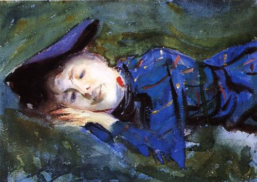 John Singer Sargent- Violet Resting on the Grass (1889)