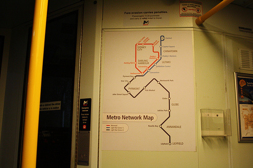 "Metro Light Rail Network Map, Sydney Can you call it a network map when it consists of one line and a soon-to-be defunct (and despised) monorail? A north pointer would really help here as well… West is at the bottom of the map. (Source: Michael ""Comeng301M"" Coley/Flickr)"