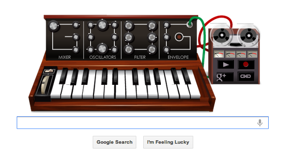 Google doodle in honor of Mr. Robert Moog's 78th birthday