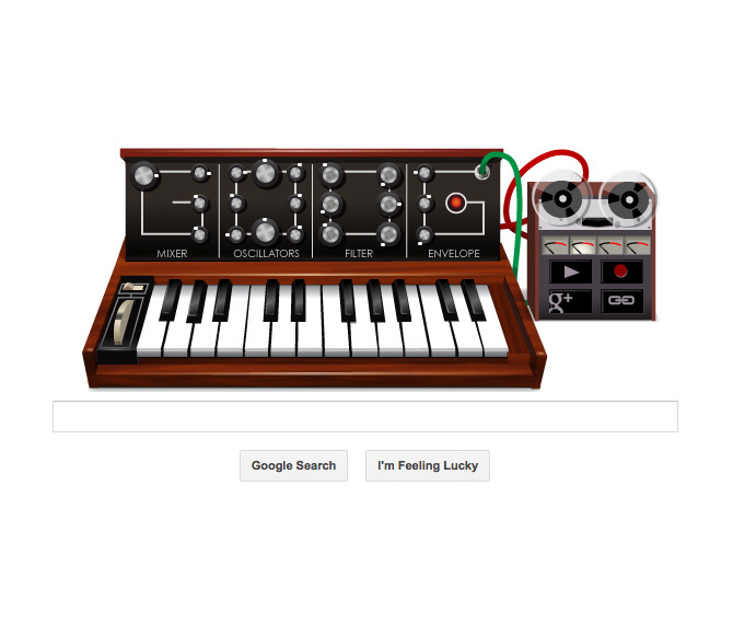 ryanrussell:  Today's Google doodle is a working/recordable/loopable Moog. It is amazing. Check it out.