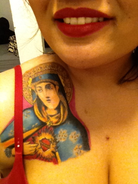 New tattoo and new lipstick, LOVE.