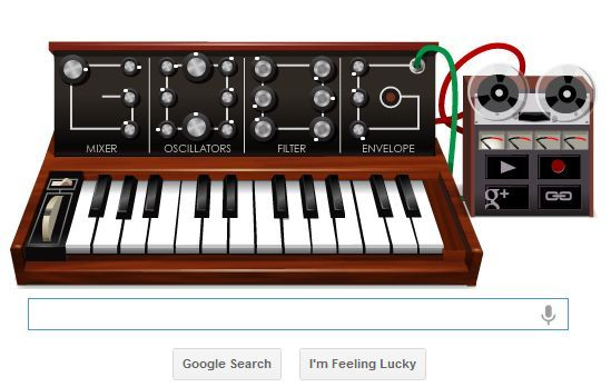 Today's Google Doodle is a Moog synthesizer - the instrument used to create the unique sound of the Main Street Electrical Parade. I haven't played with all the sound settings yet to make it sound right, but when you click on it, use these keys to play a small bit of the familiar melody: r - y-u-i - r - w - t-r-e-w-e-q - r-t-y-r-t-y-t-r-e-w-e-q-r