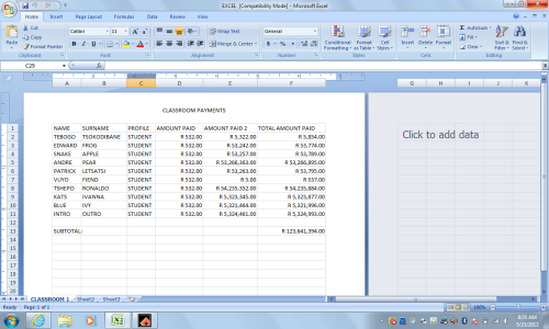 First Excel excercise of the year where we learned to calculate the totals using auto sum