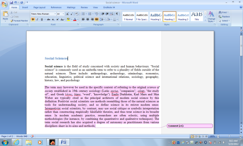 Social Sciences - First form of formatting on word we did in class and we were also allowed to comment on our fellow classmates formatting.