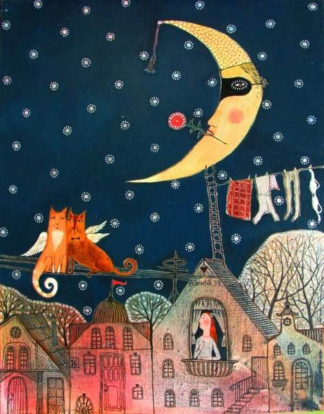 thewoodbetween:  May Night by Belarusian artist Anna Silivonchik.  Her aesthetic benchmarks can be traced back to Mark Chagall's fantastic realism, to naïve art of the beginning of the 20th century and to local Belarusian folklore and decorative arts.