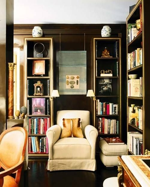 houseparts:  Decor as comfort food… This sophisticated nighttime library space is really an intimate inner-sanctum in disguise. I might never leave my nest chair.