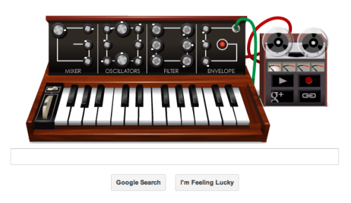 Loving Google's playable tribute to Moog today… You can even check out Wired.com's approximation of Axel F! Apparently made possible by their new web audio API… Try it at Google's homepage for today only(?)