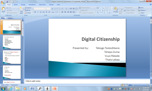 Digital Citizenship - an assignment that we had to do in class in groups on digital citizenship a lot was learned about the internet.