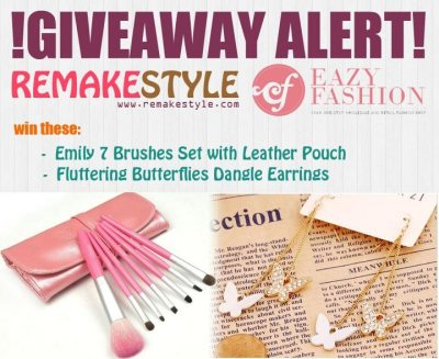 pinkspell:  Want to win: Emily 7 Brushes Set with Leather Pouch Fluttering Butterflies Dangle Earrings Then join now. Visit the RemakeStyle for more information. Official CONTEST PAGE here. Contest runs from May 23, 2012 to June 7, 2012.