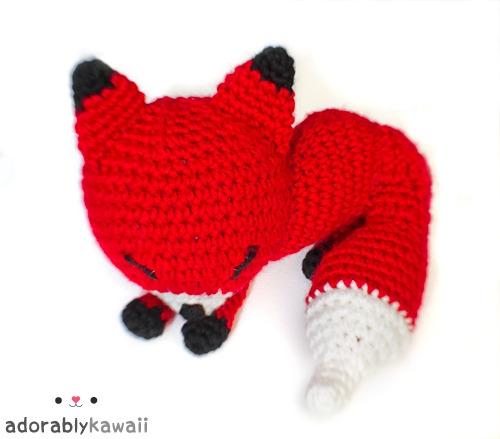 Red Sleepy Fox Amigurumi http://www.adorablykawaii.com/http://www.facebook.com/adorablykawaii/http://www.adorablykawaii.etsy.com/