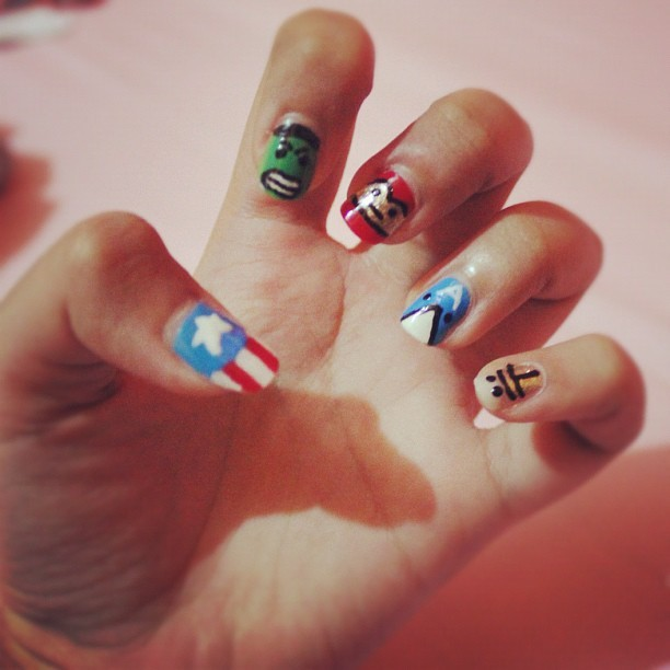 The avengers #nails #nailart #iphonesia #instagramhub #photooftheday (Taken with instagram)