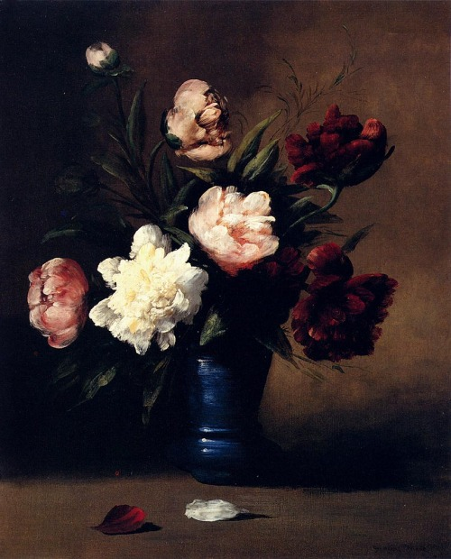 poboh:  Peonies in a blue vase, Germain Théodore Ribot. French (1845 - 1893)