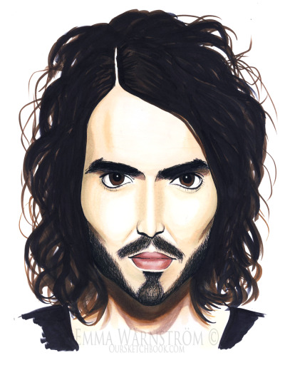 Portrait of Russell Brand. Drawn with Promarkers & Watercolorpencils!