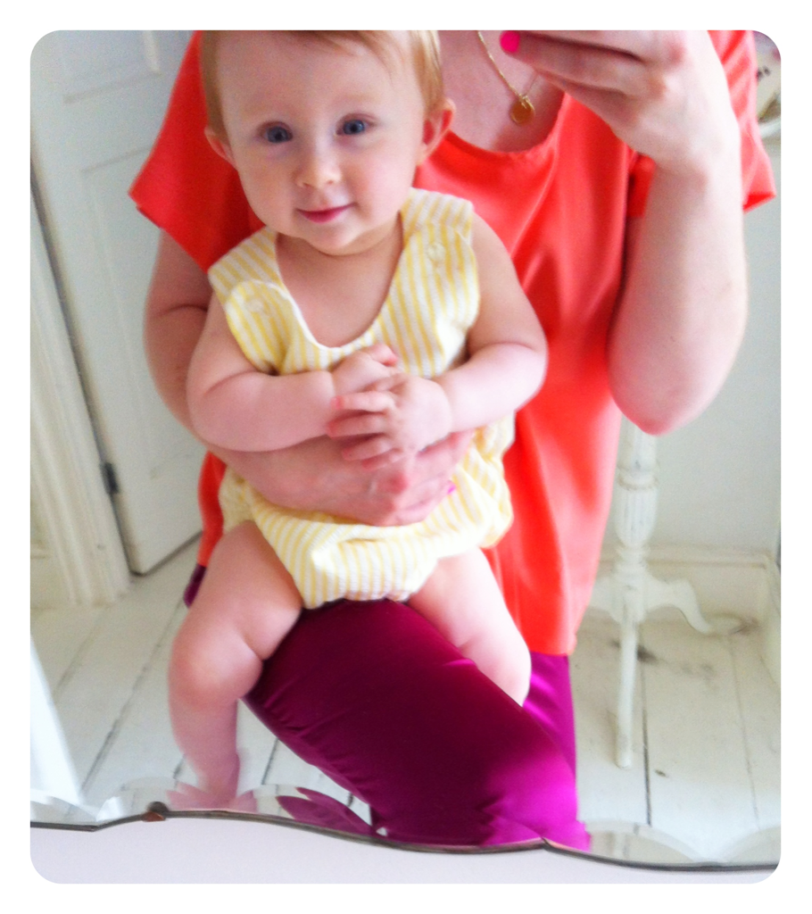 Today TheMiniOne is wearing a vintage candy-yellow striped romper and lots and lots of 'Organic Children' sunscreen from Green People  greenpeople.co.uk