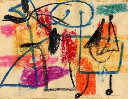 artemuertopunkcontento:  Arshile Gorky.Colored crayon on paper. 13,3 x 18,4cm. 1942.Moeller New York Berlin.