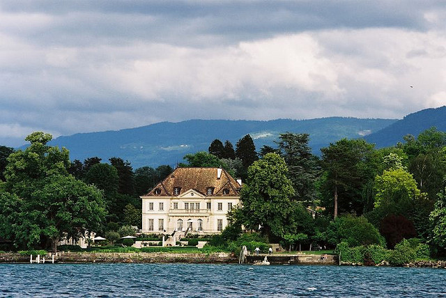 | ♕ |  Lakeside mansion - Geneva, Switzerland  | by © Eugene Regis
