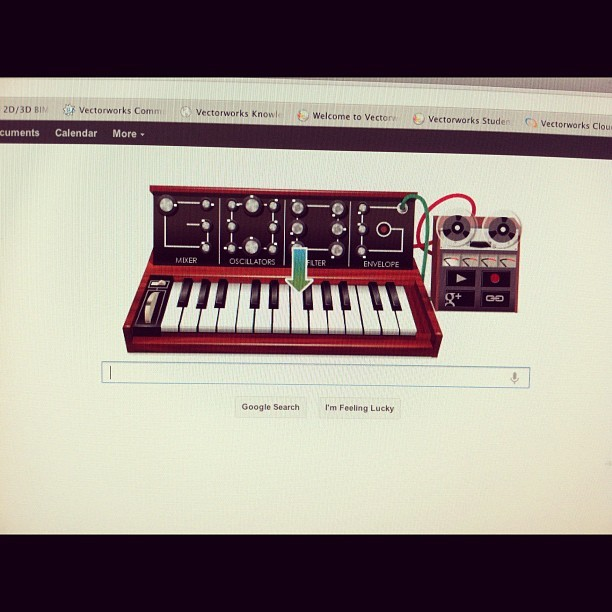 leemitty:  The Moog is actually a little programmable. Very cool Google. (Taken with instagram)