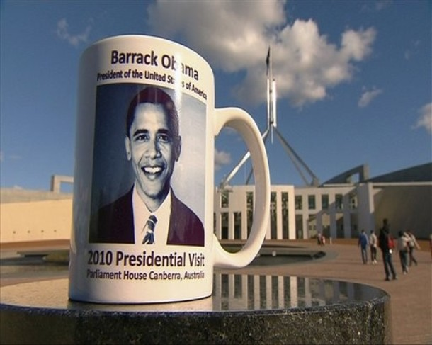 "Bag's Take-Away: 1. The monument glut continues. 2. Barrack, as in Canberra (see caption.) via DayLife (credit: AP Photo caption: This June 7, 2010 image from television supplied by Network 10 shows a commemorative coffee mug of the 2010 presidential visit by Barack Obama sitting on a stone pillar in front of Parliament House in Canberra, Australia. A Parliament House official told senators on Monday, May 21, 2012 that 198 mugs were smashed and buried under wet concrete at a loading dock behind the building. One senator called it a ""mafia-style execution"" for the mugs, which had an extra ""r"" printed in Obama's first name.) Visit BagNewsNotes: Today's Media Images Analyzed ————— Topping LIFE.com's 2011 Best Photo Blogs — also follow us on Twitter and Facebook."