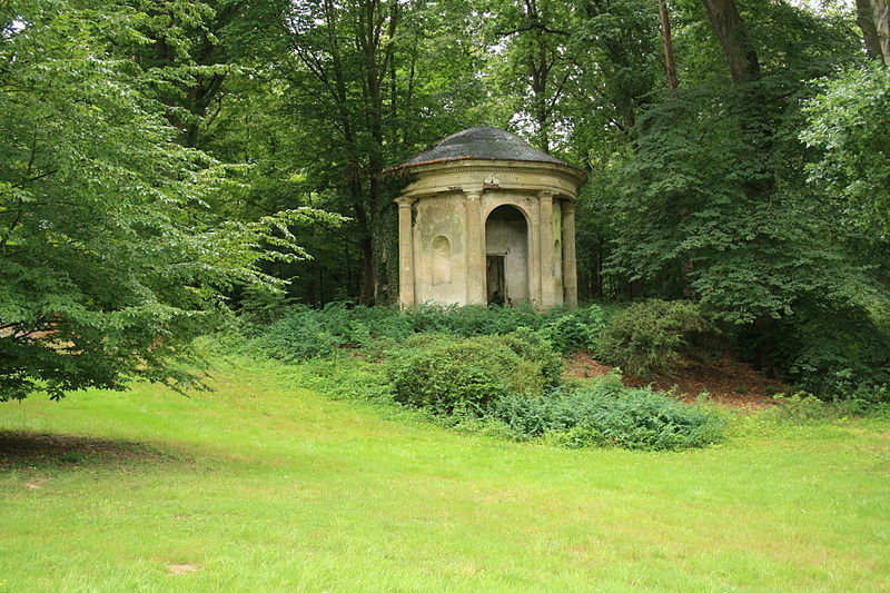 The temple of the Pan god in Désert de Retz park in Chambourcy, France The Désert de Retz is an Anglo-Chinois or French landscape garden - created at the end of the 18th century by François Nicolas Henri Racine de Monville in the commune of Chambourcy, in north-central France