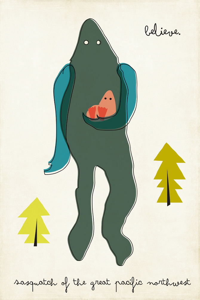 darksilenceinsuburbia:  Amy Sullivan. Modern Monsters for Kids. Sasquatch.
