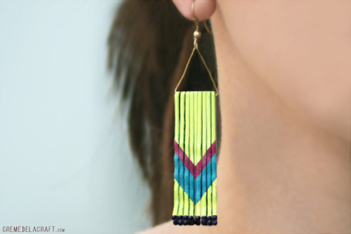 DIY bobby pin chevron earrings via Creme de la Craft