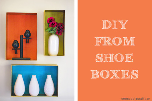 DIY decorative wall shelves made from shoe boxes via Creme de la Craft