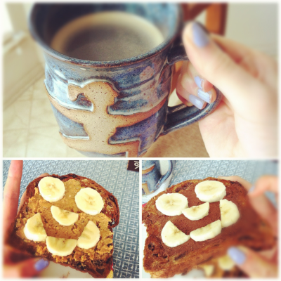 Breakfast! :) peanut butter & honey + chocolate almond butter on my toast… mmm! I have off school until next Tuesday, holla.