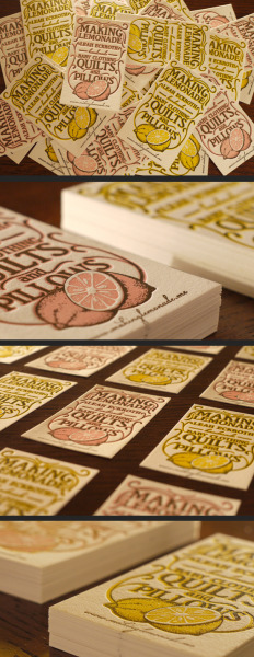 designersof:  2 color lemonade letterpress business cards. printed on 118lb 100% cotton paper.  Design and printed by Print&Grain