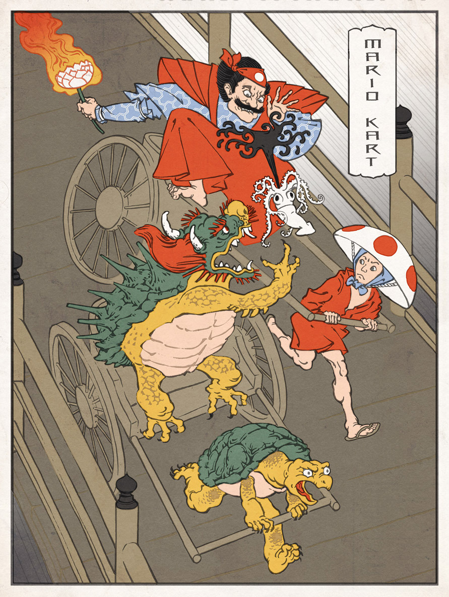 Mario Kart in feudal Japan. Love it! jedhenry: Here's #4 in my Ukiyo Heroes series.  Enjoy! Please follow my tumblr - I'm doing these all summer.