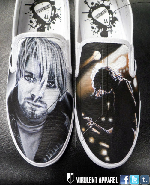 virulentapparel:  Nirvana shoes  by Virulent Apparel   for custom shoes contact - https://www.facebook.com/VirulentApparel@VirulentApparel on twitterVirulentApparel@gmail.com