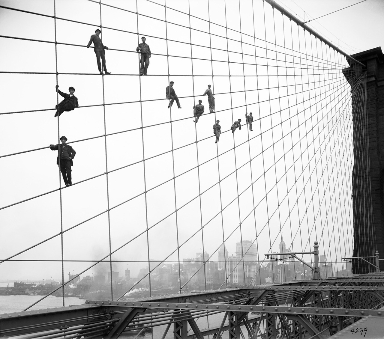 The Brooklyn Bridge opened to the public on May 24, 1883.  Photographs of the work-in-progress bridge, like this one by Eugene de Salignac, are now available to the public through the New York City Municipal Archives. See more here.