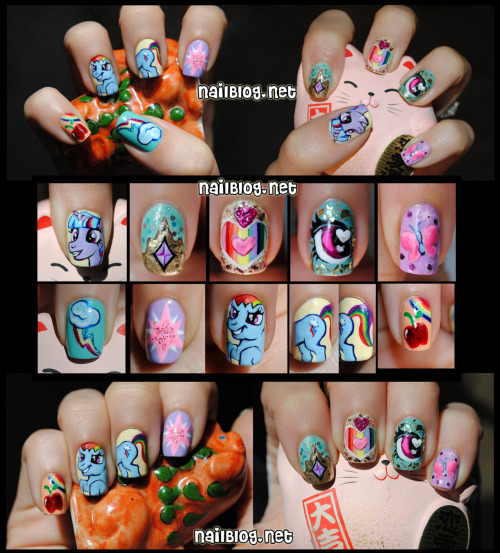 Hey guys! Did you know we're holding an Equestria Nail Art Contest? We are! And it's going on RIGHT NOW! So vote for your favorites on Facebook or on Blogspot! The one pictured here is by Christina at NailBlog.Net - isn't it awesome?
