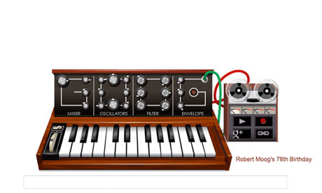 "For synthesizer pioneer Robert Moog's 76th birthday, the Google doodle today is a ""Goog"" synth complete with multitrack recording capability, mixer, oscillators, filter and envelope. You can record a tune, play it back and send a link to someone. All the knobs are adjustable to tweak the sounds you're getting, and you can record one track at a time on the recorder, then play 'em back together. It will fascinate you!"
