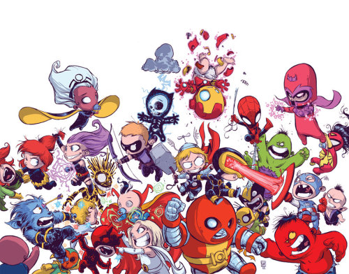 comicsforever:  Avengers Vs X-Men Babies // artwork by Skottie Young (2012)   but wolverine's an avenger…