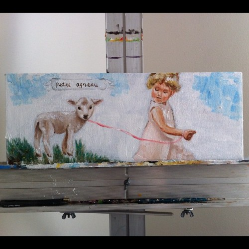 Little lamb painting#art #painting #nursery #baby (Taken with instagram)