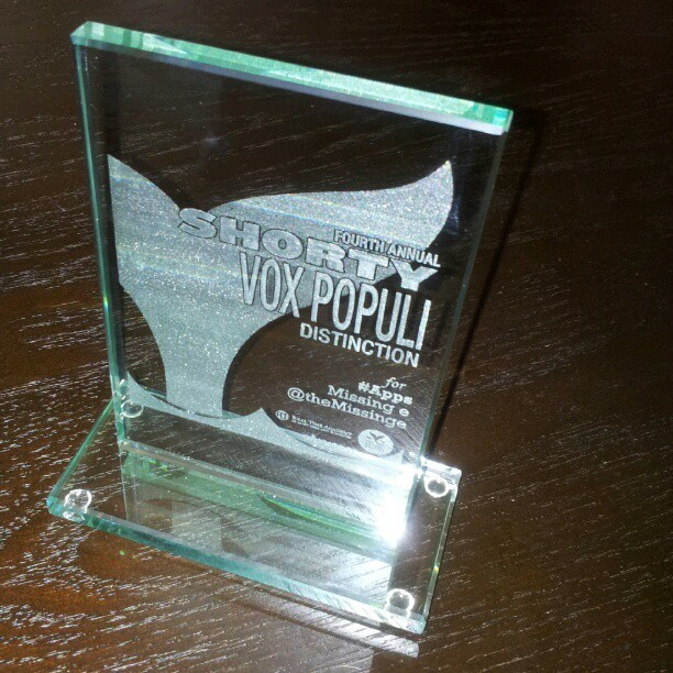 cutlerish:  This just arrived. The Missing e Shorty Vox Populi Award.  Plus, it came with Tootsie Rolls in the box.  (Taken with instagram)