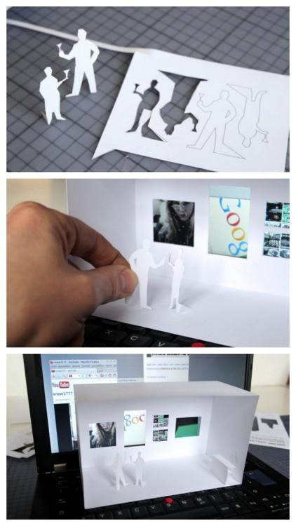 DIY Open Your Own Mini Gallery Printable. This is just time wasting fun (and nothing wrong with that). The idea is you cut out a fee printable template to create your gallery (including people milling about with wine of course) and then place it in front of your laptop screen to create a dynamic changing gallery scene. Download and video from F.A.T. here. Found at craftzine here.