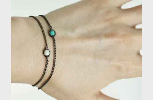 "Mint czech glass bead bracelet / New arrivals -""chain:D"""