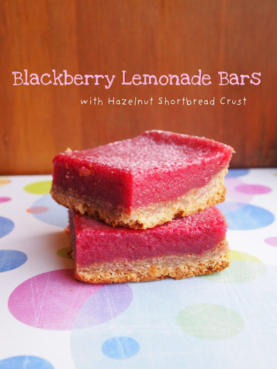 gastrogirl:  blackberry lemonade bars with hazelnut shortbread crust.  :o