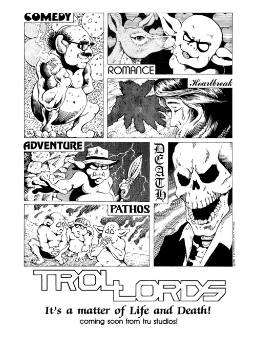 Promotional ad for Trollords by Scott Beaderstadt and Paul Fricke, 1986.