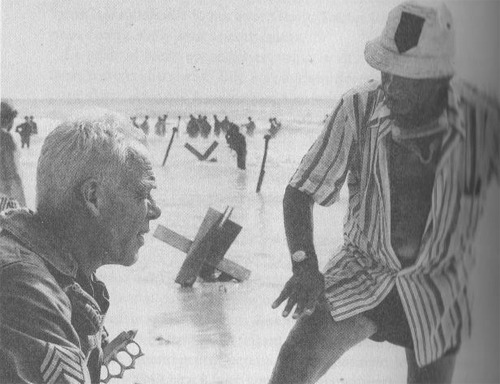 "celluloidshadows:  Director Samuel Fuller with actor Lee Marvin on the set of the 1980 war film ""The Big Red One"". Click the pic to watch a scene from the movie."