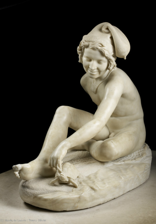 lepeanutgallery:  This piece caused quite a controversy at the Salon of 1833. While the folks in Paris were used to their art, especially their marble art, representing gods and heroes, Francois Rude had carved a naked boy playing with a turtle. Rude indeed! I guess they were just as confused as you might be. Why, they asked themselves, is the boy wearing a hat that looks like a condom? Where did his clothes go? And did he have the turtles consent or was the turtle being held against his will? Should someone call PETA? These questions still plague art historians today. Neopolitan Fisherman Playing with a Tortoise, François RUDE (Dijon, 1784 - Paris, 1855)  That hat.
